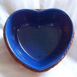 Blue Heart Serving Bowl with Wicker Basket